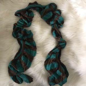 Teal & brown striped scarf
